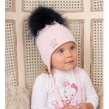 """Шапка зимняя для девочек розового цвета с вуалью """"VIP"""""""