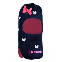 Шапка-шлем для девочек синий с белыми бабочками ЛОЛИТА