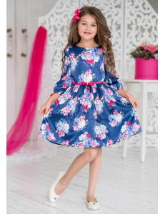 """Платье нарядное синего цвета с галогеновыми стразами """"Дженифер"""""""