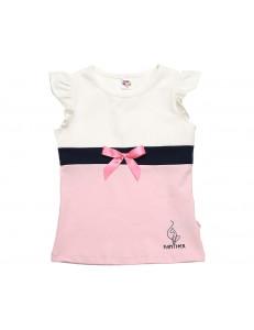 Футболка для девочек бело-розовая panther