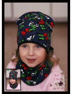 Комплект темно-синий для девочки (удлиненная шапка и снуд) «Бабочки»
