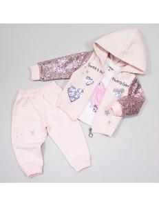 """Комплект тройка розового цвета с пайетками для малышей """"Сердце"""""""